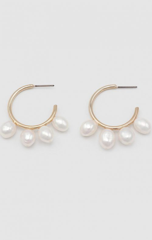 JOLIE & DEEN DOLLY PEARL EARRINGS GOLD