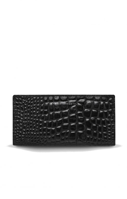 STATUS ANXIETY IN BEGINNING WALLET BLACK CROC EMBOSS
