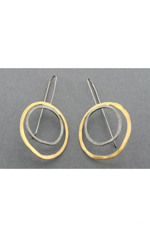 ALAN MYERSON DOUBLE CIRCLE EARRING GOLD OXIDISED