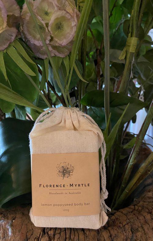 FLORENCE AND MYRTLE SOAP LEMON POPPYSEED