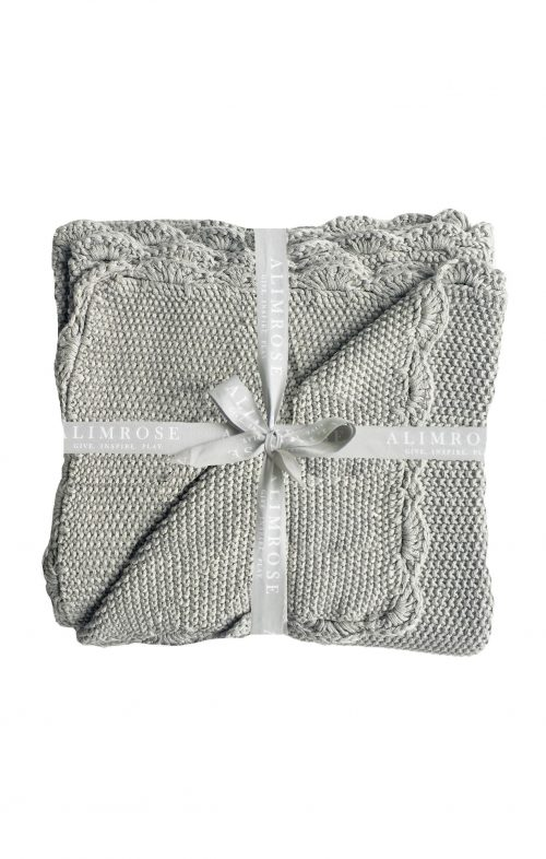 ALIMROSE BABY BLANKET KNIT MINI MOSS STITCH GREY