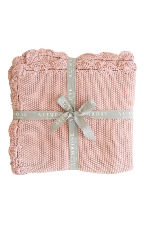 ALIMROSE BABY BLANKET KNIT MINI MOSS STITCH PINK