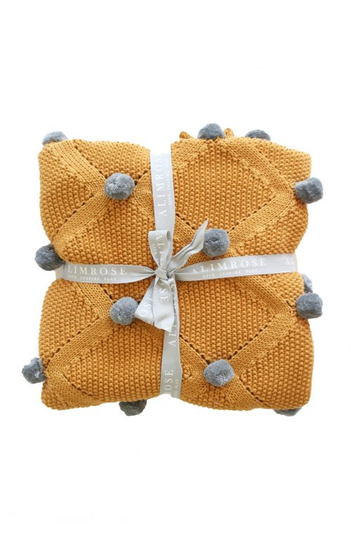 ALIMROSE BABY BLANKET POM POM BUTTERSCOTCH GREY