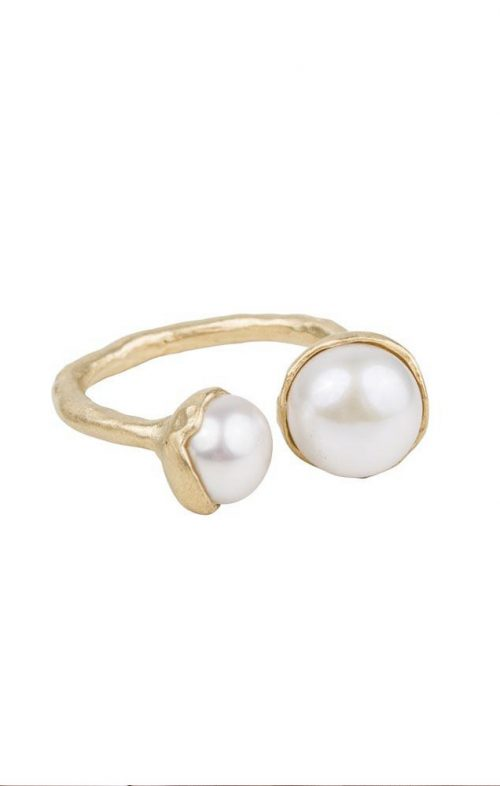 FAIRLEY DOUBLE PEARL RING GOLD SIZE 7