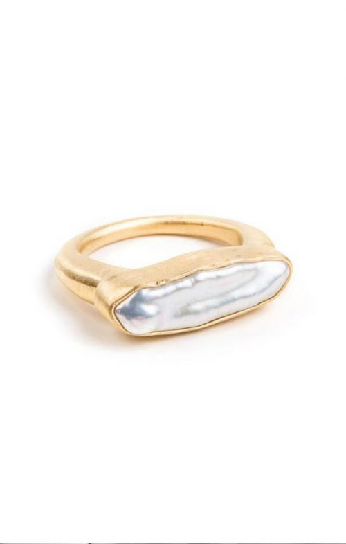 FAIRLEY PEARL BAR RING GOLD SIZE 7