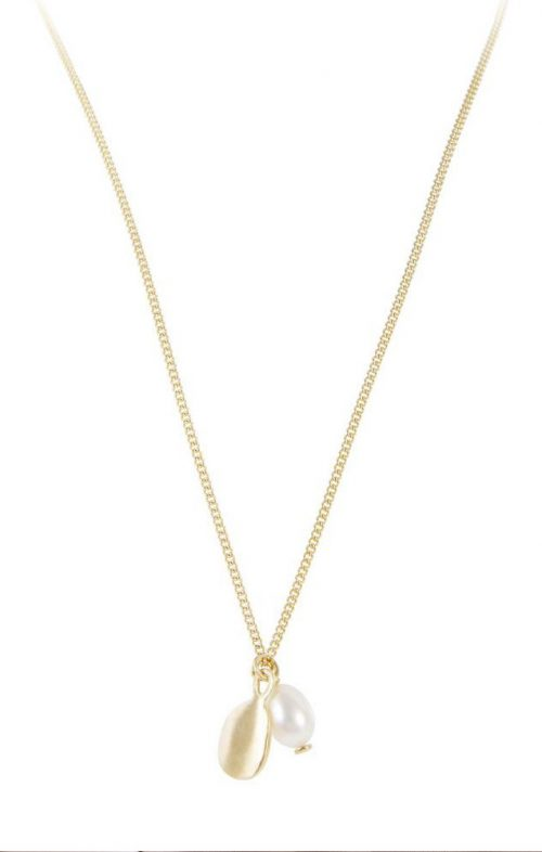 FAIRLEY PEARL DISC NECKLACE GOLD