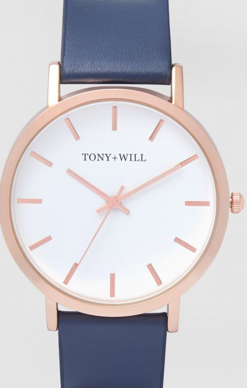 TONY WILL CLASSIC ROSE GOLD NAVY WATCH