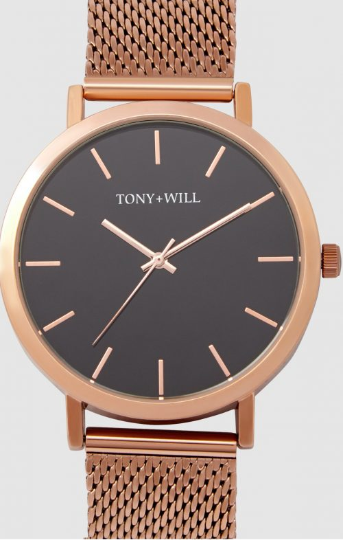 TONY WILL CLASSIC MESH WATCH MATTE ROSE GOLD BLACK