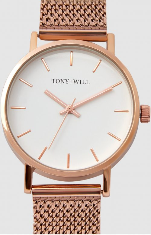 TONY WILL CLASSIC 36MM MESH WATCH ROSE GOLD