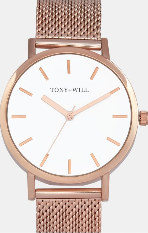 TONY WILL CLASSIC MESH WATCH SHINY ROSE GOLD