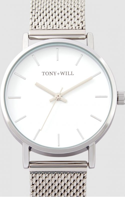 TONY WILL CLASSIC 36MM MESH WATCH SILVER