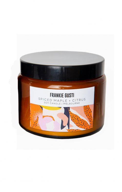 frankie gusti spiced maple citrus candle