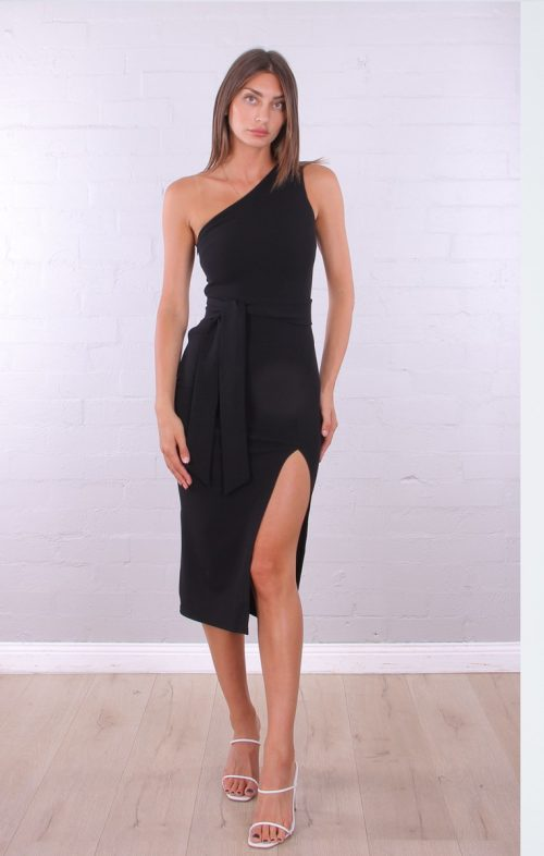 ROSEBULLET ONE SHOULDER MIDI DRESS BLACK