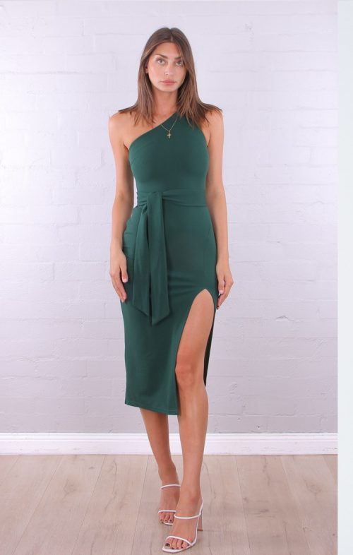 ROSEBULLET ONE SHOULDER MIDI DRESS EMERALD