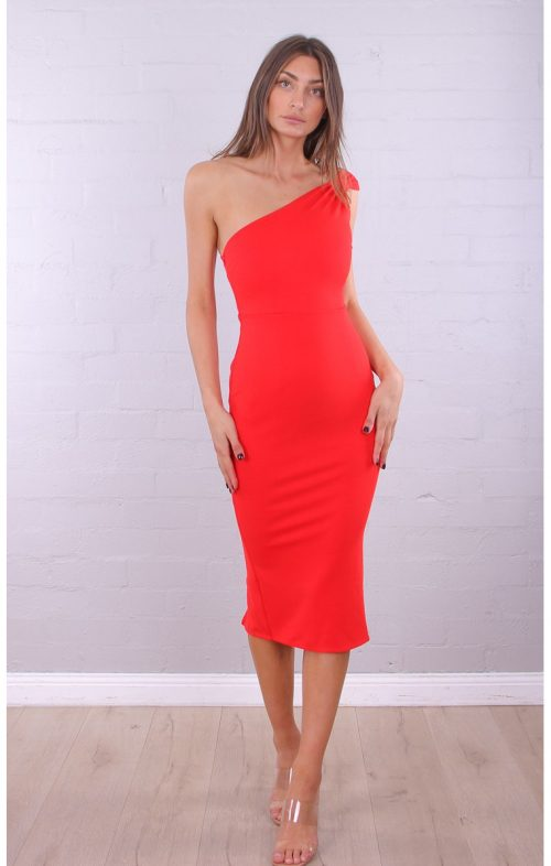 ROSEBULLET ONE SHOULDER MIDI DRESS RED