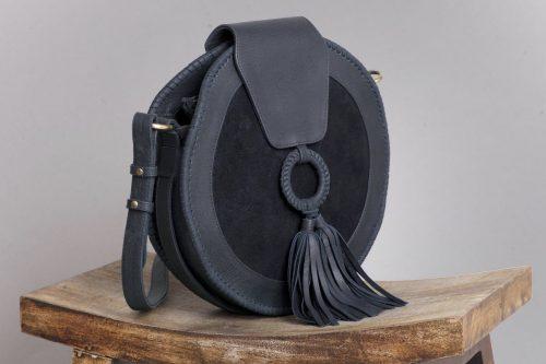 OVAE HARLEQUIN ROUND LEATHER BAG BLACK