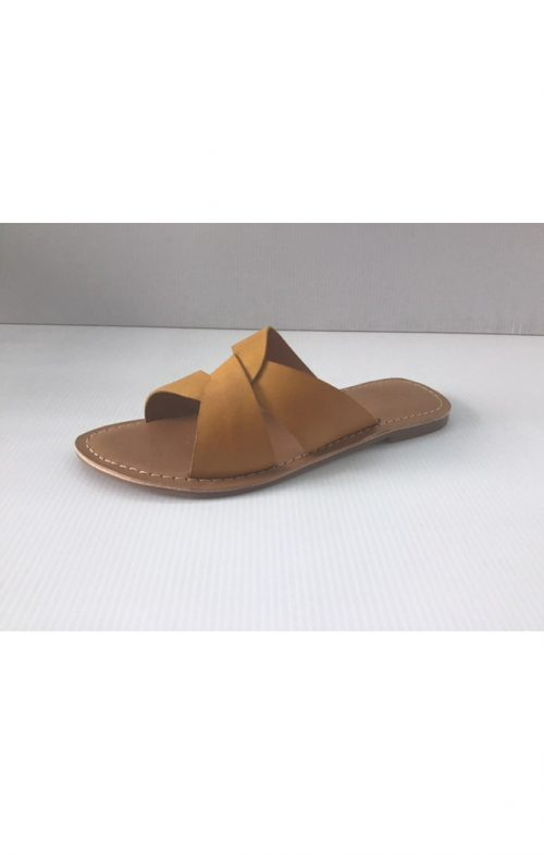 HUMAN PREMIUM CHAPEL LEATHER SLIDE MUSTARD