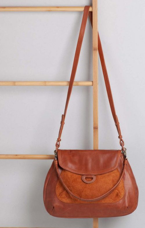 OVAE DHARA LEATHER HANDBAG WALNUT