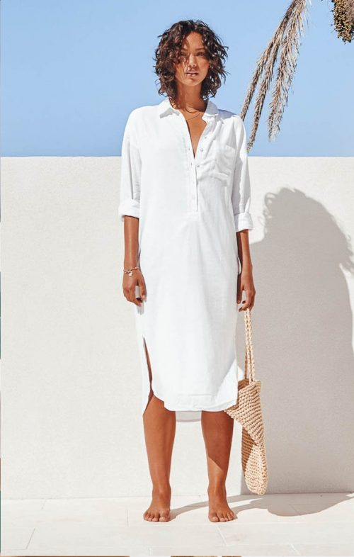 SNDYS BELLA SHIRT DRESS WHITE LINEN
