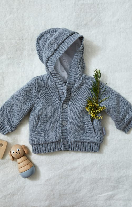 BEANSTORK KIDS CHARCOAL HOODED CARDIGAN