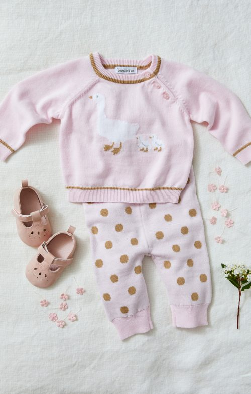 BEANSTORK PINK MOTHERGOOSE KNIT SET