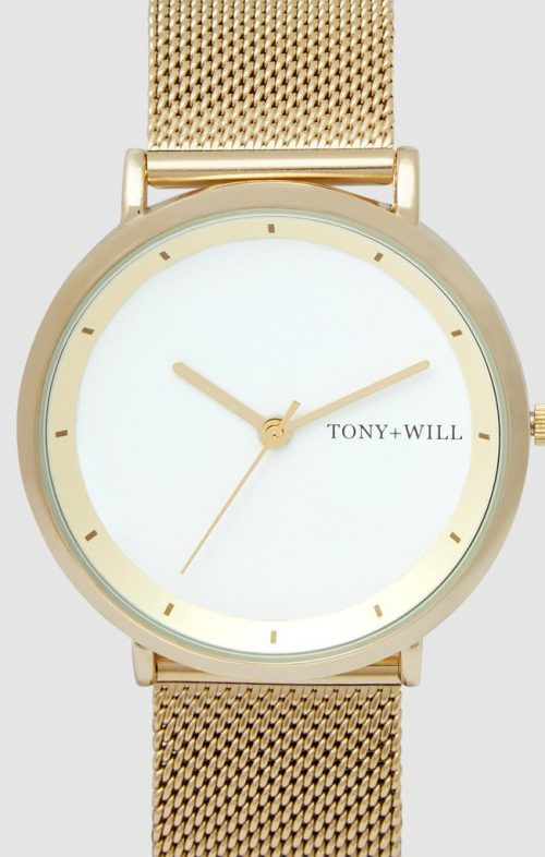 TONY WILL LUNAR MESH WATCH LIGHT GOLD