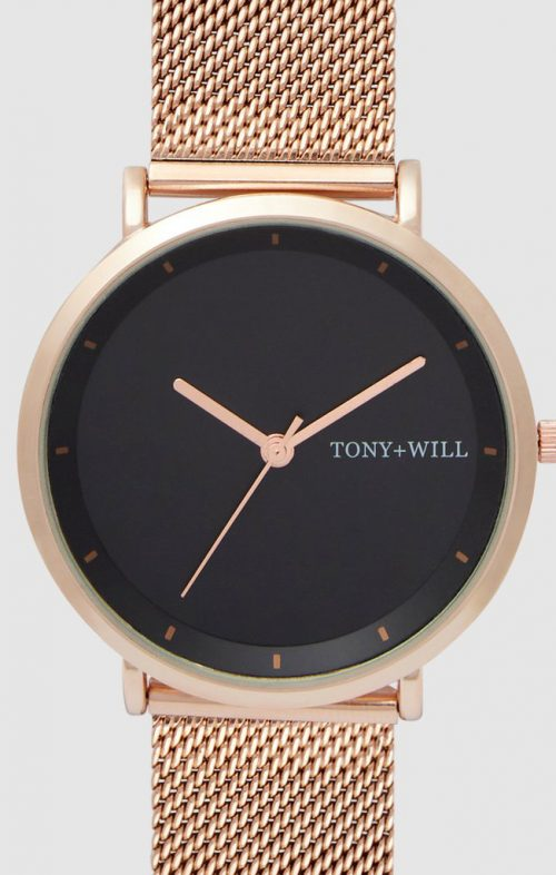 TONY WILL LUNAR MESH WATCH ROSE BLACK