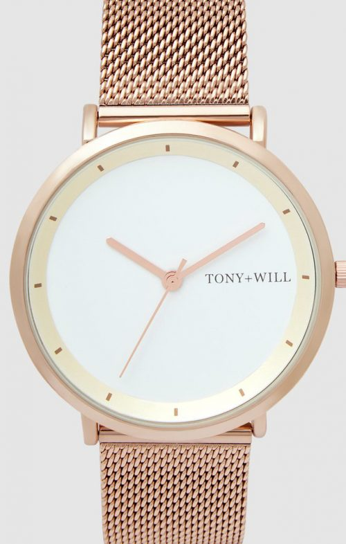 TONY WILL LUNAR MESH WATCH ROSE WHITE