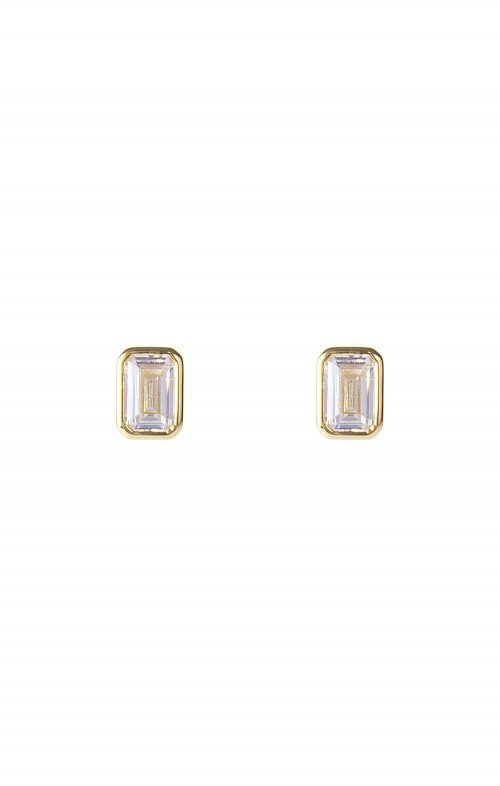 FAIRLEY EARRINGS CRYSTAL DECO STUD GOLD