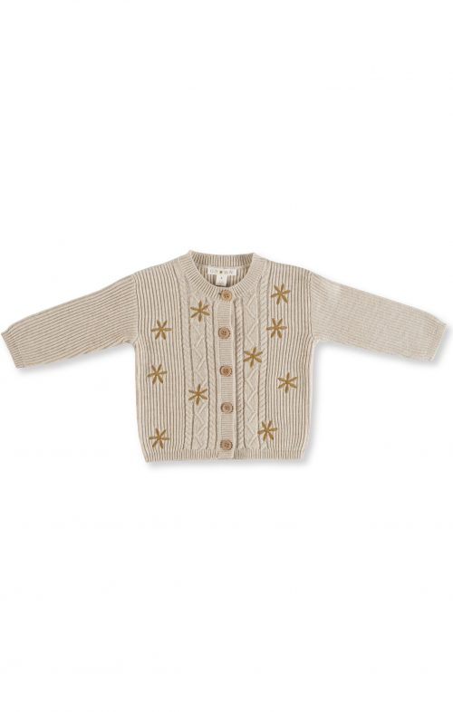 GROWN FLOWER FIELD CARDIGAN OATMEAL