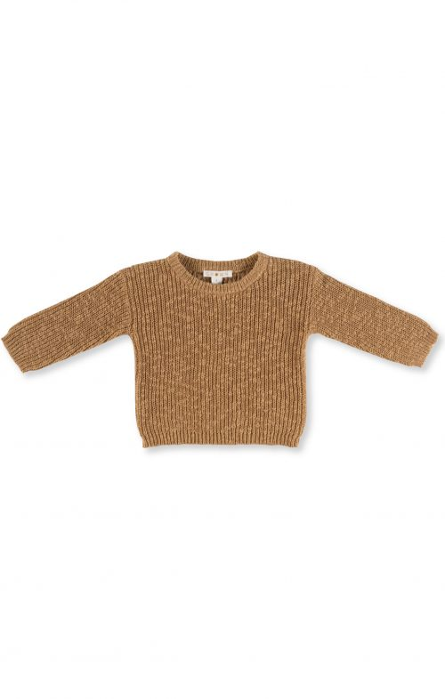 GROWN CHUNKY RIB PULLOVER BROWN