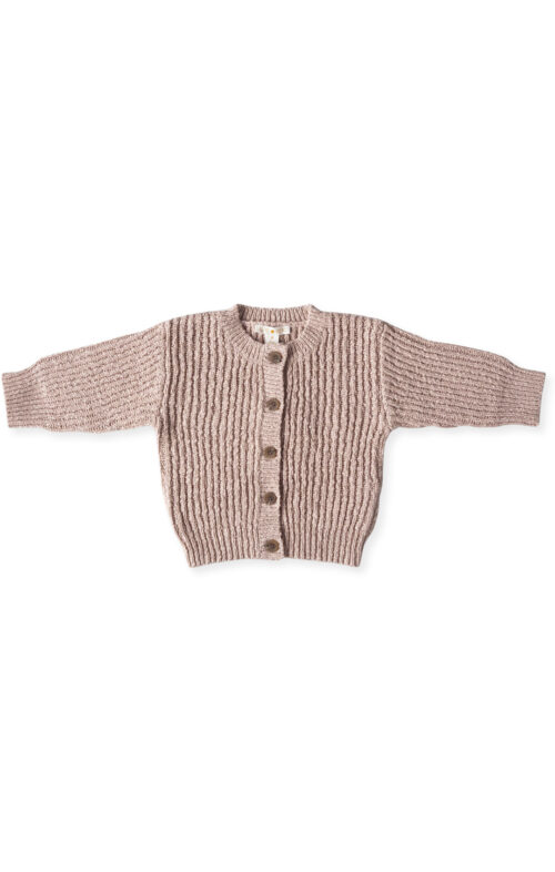 GROWN RIB SLUB CARDIGAN ROSE