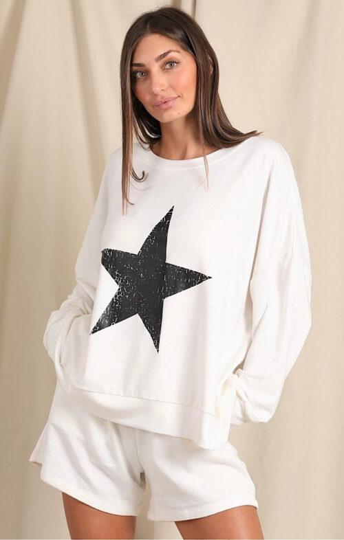 LOVE LILY THE LABEL SADIE STAR SWEAT WHITE