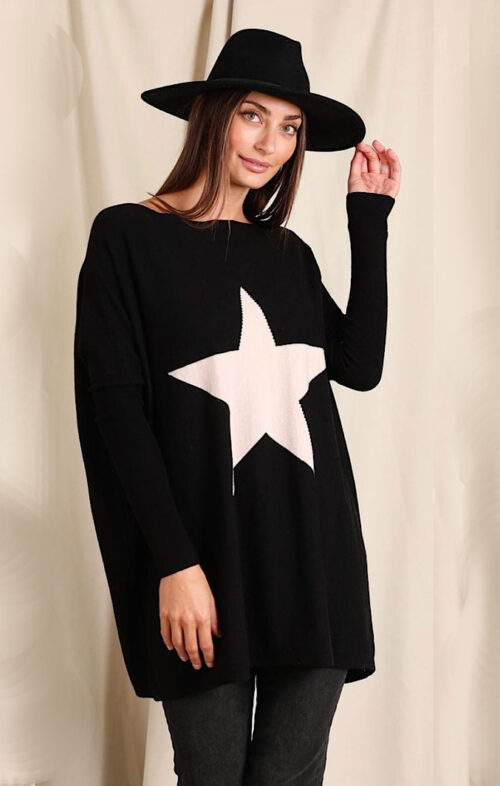 LOVE LILY WILLOW BOXY STAR KNIT BLACK BEIGE