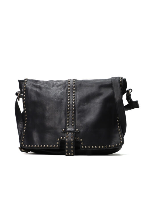 MAHSON AND CO LONDON LEATHER BAG BLACK