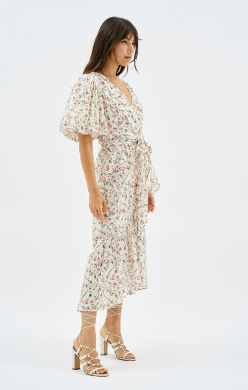 MINKPINK PENNE PUFF SLEEVE MIDI DRESS