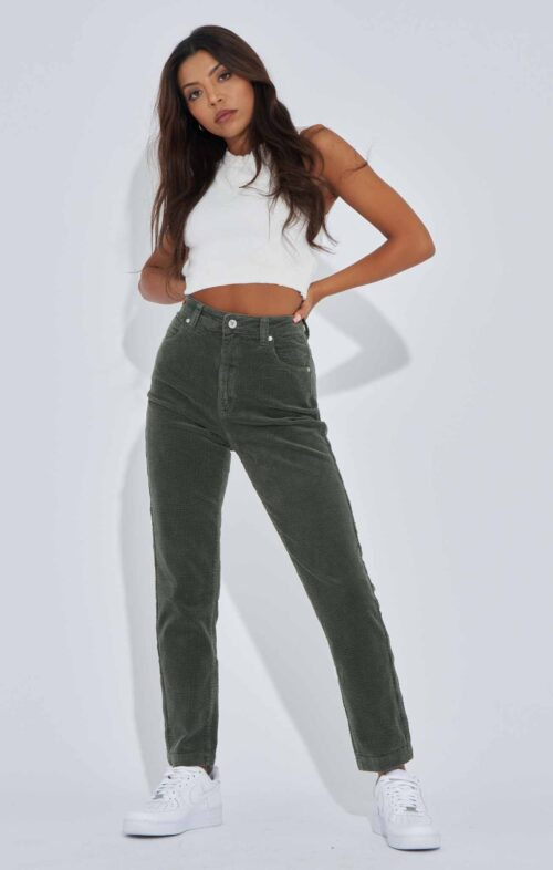 ABRAND 94 HIGH SLIM JEANS OLIVE CORD