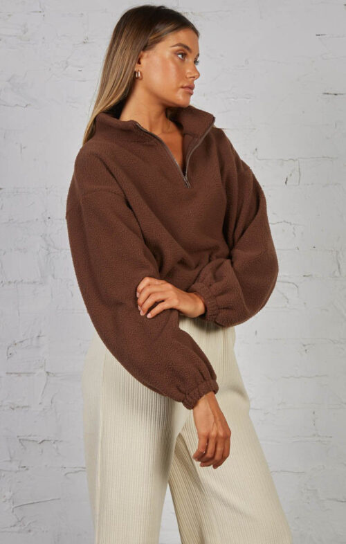 SNDYS THE LABEL PAIGE PULLOVER CHOCOLATE