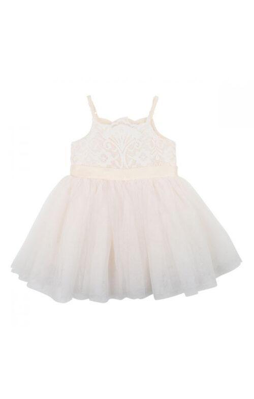 BEBE KIDS IVORY LACE BODICE DRESS TULLE