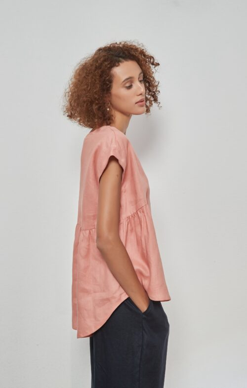TIRELLI RELAXED GATHER TOP VINTAGE ROSE