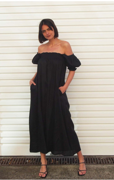 VALERIA PIA LINEN DRESS BLACK